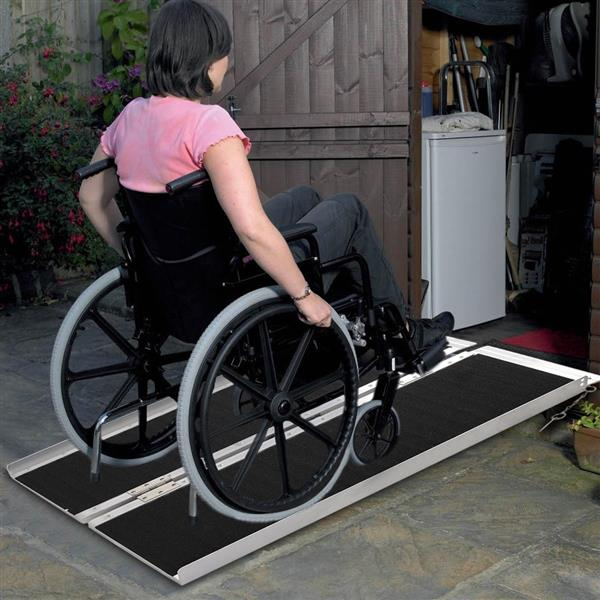 [US-W]3FT Two-section Non-Skid Folding Lightweight Aluminum Alloy Wheelchair Scooter Mobility Ramps