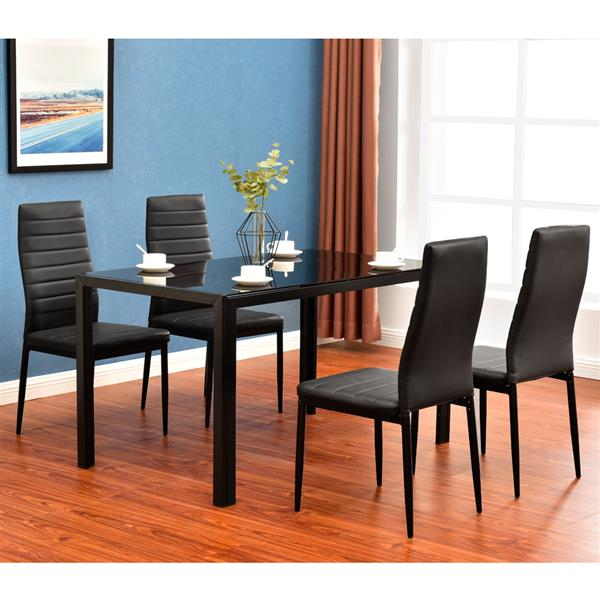 Simple Assembled Tempered Glass & Iron Dinner Table + 4pcs Elegant Assembled Stripping Texture High Backrest Dining Chairs Black