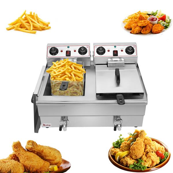 ZOKOP EH102V 16.9QT / 16L Total Capacity 24.9QT / 23.6L Stainless Steel Faucet Double Cylinder Electric Fryer 3000W MAX