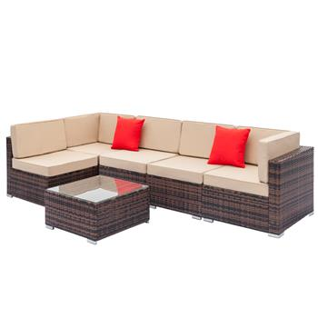Fully Equipped Weaving Rattan Sofa Set with 2pcs Corner Sofas & 3pcs Single Sofas & 1 pcs Coffee Table Brown Gradient