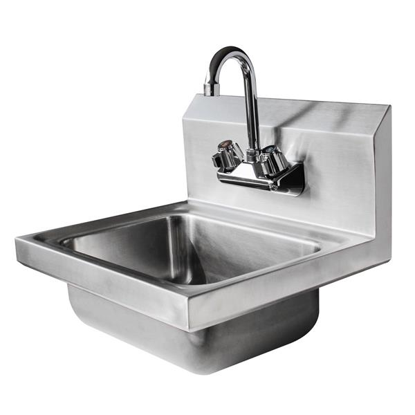 """17"""" Commercial Stainless Steel Wall Mount Kitchen Hand Sink with Faucet Silver"""
