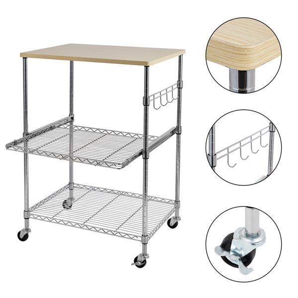 [US-W]3-Tier Wire Rolling Kitchen Cart