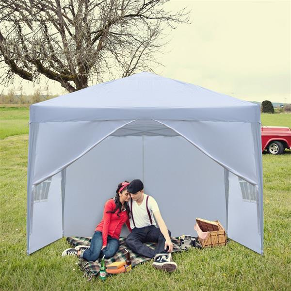 3 x 3m Two Doors & Two Windows Practical Waterproof Right-Angle Folding Tent White