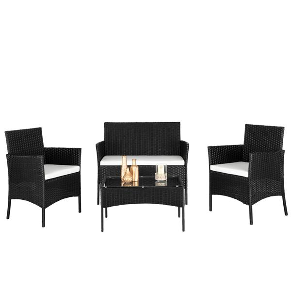 2pcs Arm Chairs 1pc Love Seat & Tempered Glass Coffee Table Rattan Sofa Set Black