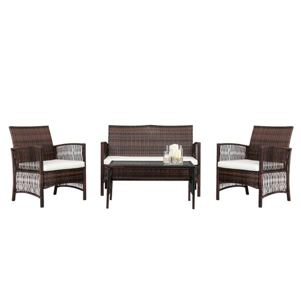4pcs 1 Double Seat 2 Single Seat 1 Coffee Table Armrest Hollow Knit Combination Sofa Brown Gradient