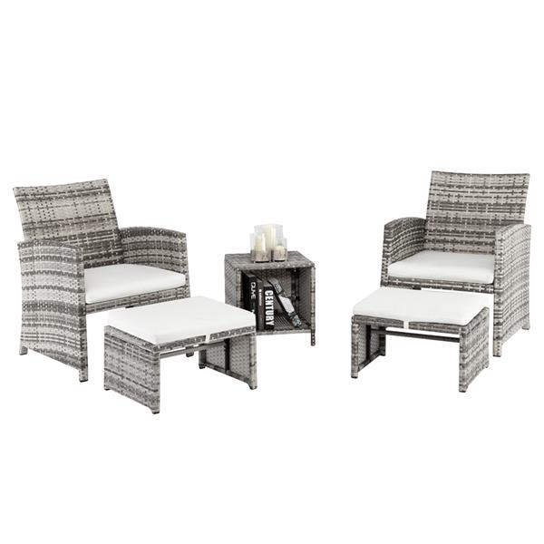 5pcs 2 Chairs 2 Footstools 1 Coffee Table Combination Sofa Gray Gradient