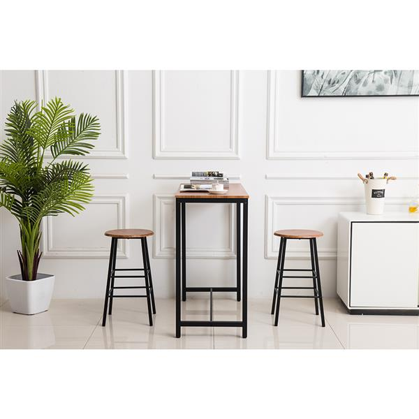 PVC Wood Grain Simple Bar Table Tound Bar Stool (One Table And Two Stools)
