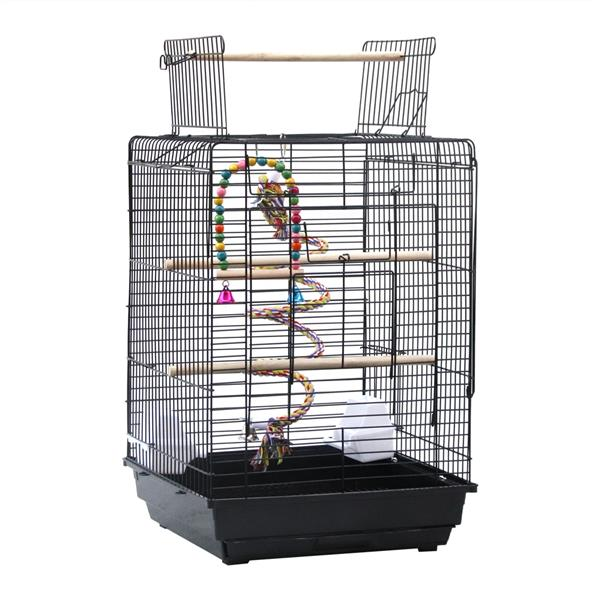 """23"""" Bird Cage Pet Supplies Metal Cage with Open Play Top with tow Additional Toys Black"""