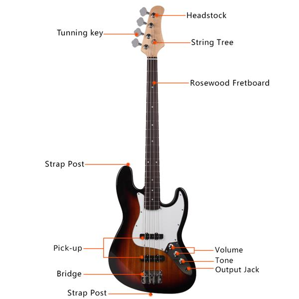 Gjazz Electric Bass Right Handed 4 Strings SS Pickup Bags Straps Picks Cables Wrench Tools Sunset Color