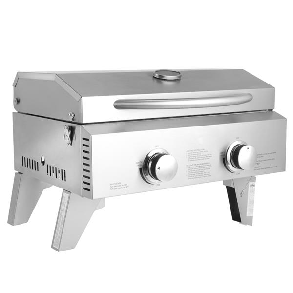 Tabletop Stainless Steel 2-Burner Gas Grill Portable 2000 BTU BBQ Grid with Foldable Legs for Outdoor Camping Picnic