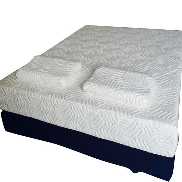 "12"" Three Layers Cool Medium High Softness Cotton Mattress with 2 Pillows (Queen Size) White"