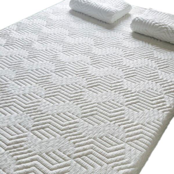 """8"""" Three Layers Cool Medium High Softness Cotton Mattress with 2 Pillows (Queen Size) White"""