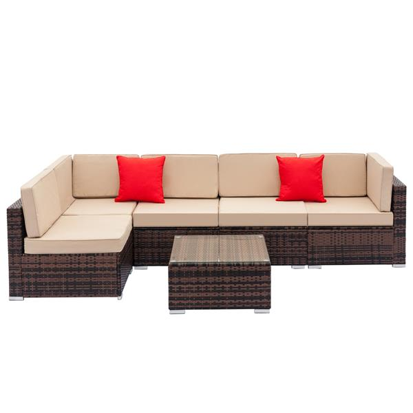 Fully Equipped Weaving Rattan Sofa Set with 2pcs Corner Sofas & 4pcs Single Sofas & 1 pcs Coffee Table Brown Gradient