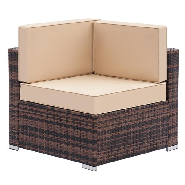 Fully Equipped Weaving Ratt Fully Equipped Weaving Rattan Sofa Set with 1pcs Corner Sofas & 4pcs Single Sofas & 1 pcs Coffee Table Brown Gradient
