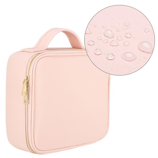 [US-W]Professional High-capacity Multilayer Portable Travel Makeup Bag Strap Pink