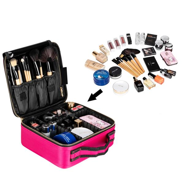 [US-W]Professional High-capacity Multilayer Portable Travel Makeup Bag Strap Rose Red