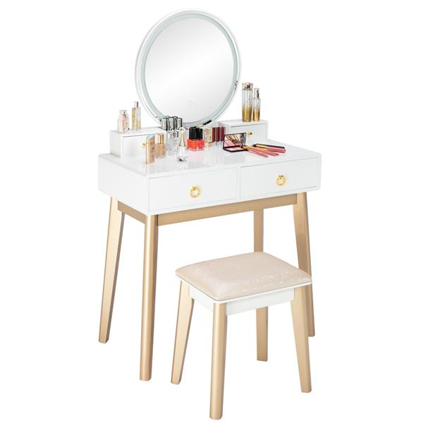 Bedroom Light Luxury Real Wood Dressing Table Simple Makeup Table With Lamp Three Color Adjustable