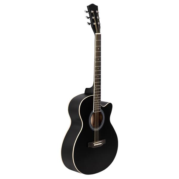 40 Inch Cutaway Acoustic Guitar 20 Frets Beginner Kit for Students Children Adult Bag Guard Wrench Strings Black
