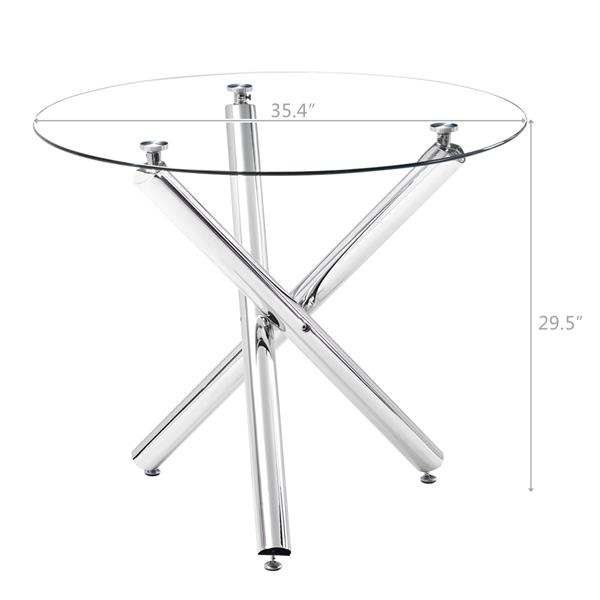 90*90*75cm Round Glass Dining Table