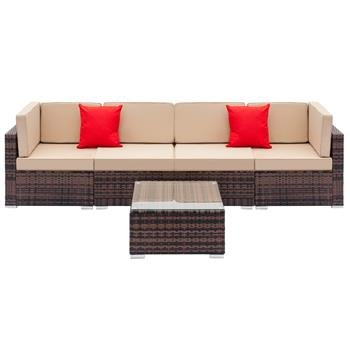 Fully Equipped Weaving Rattan Sofa Set with 2pcs Corner Sofas & 2pcs Single Sofas & 1 pcs Coffee Table Brown Gradient