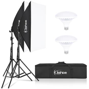 "Kshioe Softbox Lighting Kit, Photo Equipment Studio Softbox 20"" x 27"", with E27 Socket and 2x5500K Instant Brightness Energy Saving Lighting Bulbs"