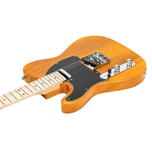 Glarry GTL Left Hands Electric Guitars Maple Fingerboard SS Pickup for Beginners Transparent Yellow