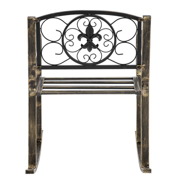 Artisasset Paint Brush Gold Old Outdoor Garden Single Iron Art Rocking Chair Black