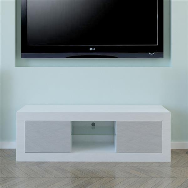 LED Two Door TV Cabinet White Gray Color Contrast