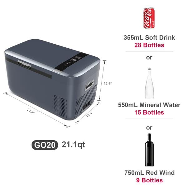 ICECO GO20 12V Dual Zone Portable Refrigerator, Separate Control, with Danfoss Compressor, Mini Fridge Cooler Refrigerator for Outdoor, Home Use, White [Amazon eBay Prohibit ]