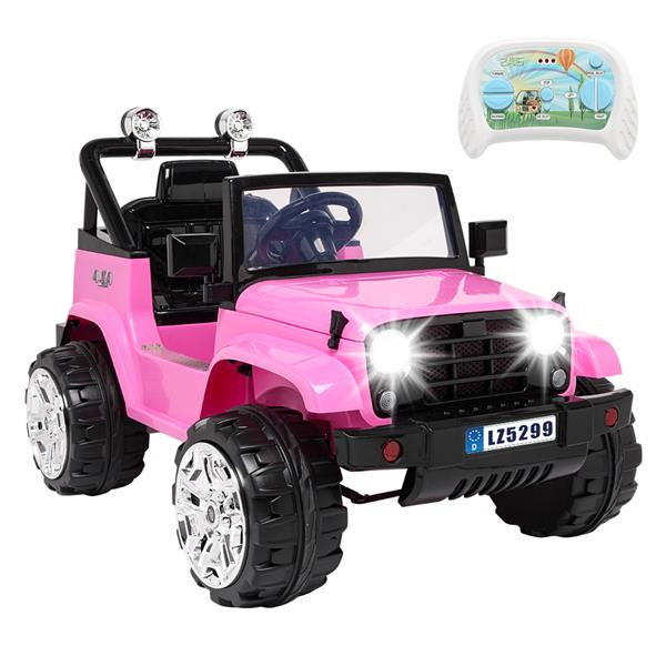 LEADZM LZ-5299 Small Jeep Dual Drive Battery 12V7Ah * 1 with 2.4G Remote Control Pink