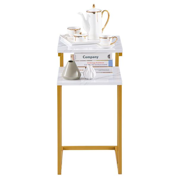 (42 x 35.5 x 71)cm C-Type Side Table Double-Layer Gold Marble Sticker