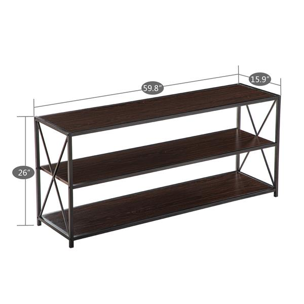 [US-W](152 x 40.5 x 66 cm) Industrial Style Three-Layer Cross Porch Table Side Crossing Black Walnut Color