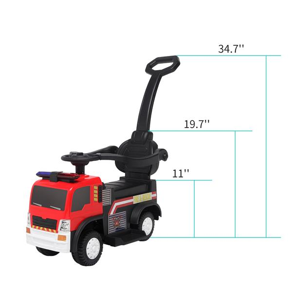 LEADZM JC008P Fire Truck with Music Function with Push Handle