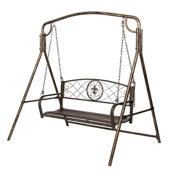 [US-W]Artisasset Paint Brush Gold Old Outdoor Garden Double Swing Chair Black