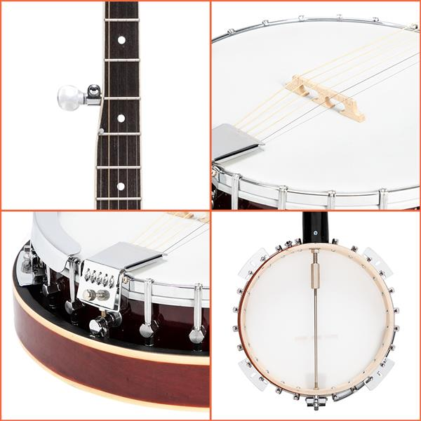 Glarry 5-String Resonator Banjo Reentrant Tuning Banjo Right Handed Back & Sides Sapele with Strings