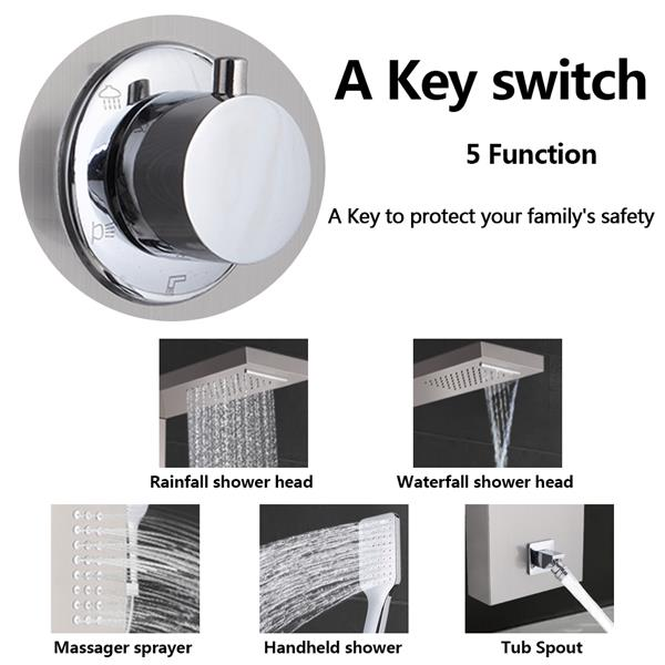 60 inch Shower Panel Tower System Stainless Steel 5 in 1 Multi-Function Shower Panel with Spout Rainfall Waterfall Massage Jets Tub Spout Hand Shower for Home Hotel Resort Split Type -Silver