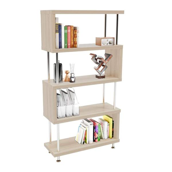 S-Shaped 5 Shelf Bookcase, Wooden Z Shaped 5-Tier Etagere Bookshelf Stand for Home Office Living Room Decor Books Display (Light Beige)