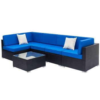 Fully Equipped Weaving Rattan Sofa Set with 2pcs Corner Sofas & 3pcs Single Sofas & 1 pcs Coffee Table Black