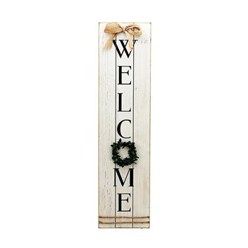 Vertical Wooden Welcome Sign Plaque with Wreath Wall Hanging Decor|Large Farmhouse Decor for Entryway,Front Door