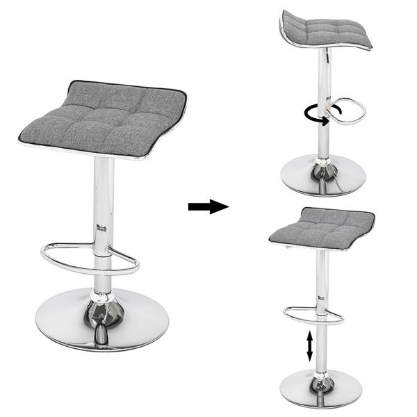 [US-W]2 Soft-Packed Square Board Curved Foot Bar Stools Cotton And Linen Fabric Dark Gray
