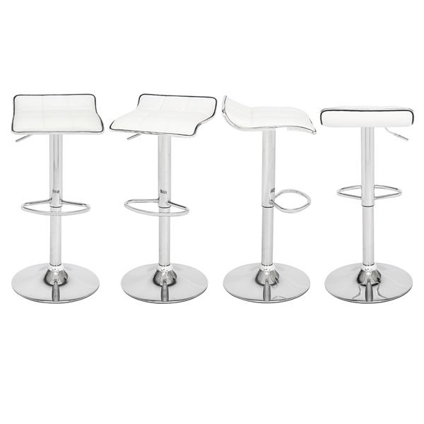 [US-W]2 Soft-Packed Square Board Curved Foot Bar Stools Pu Fabric White