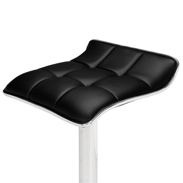 2 Soft-Packed Square Board Curved Foot Bar Stools Pu Fabric Black