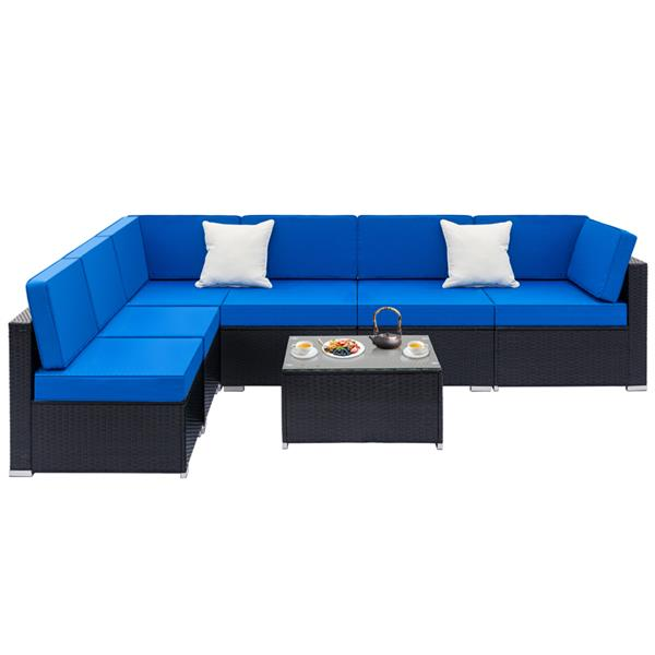 Fully Equipped Weaving Rattan Sofa Set with 2pcs Corner Sofas & 4pcs Single Sofas & 1 pcs Coffee Table Black-Right Sofa