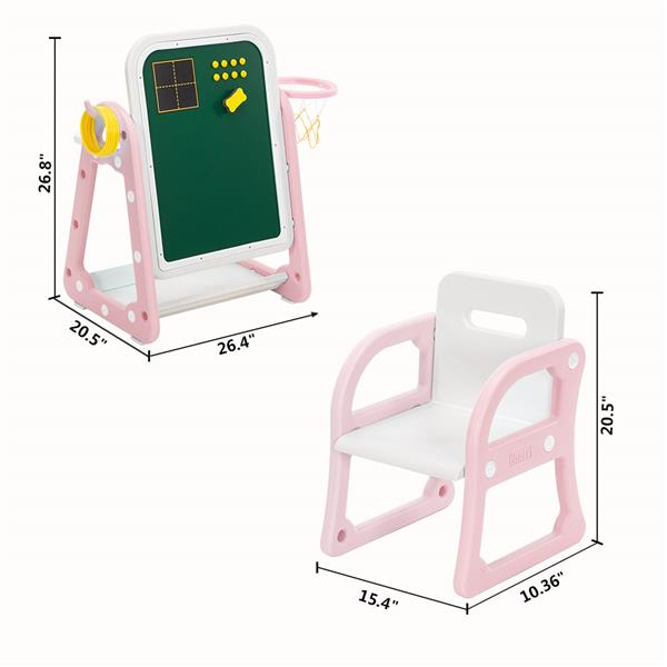 [US-W](52 x 67 x 68) Plastic Children's Table and Chair Drawing Board Set with Shooting Ring 1 Table and 1 Chair