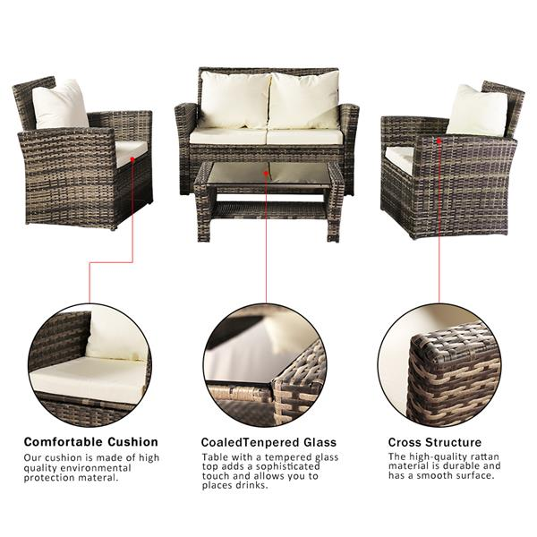 Oshion Outdoor Rattan Sofa Combination Four-piece Package-Gray Package-1 (Combination Total 2 Boxes)