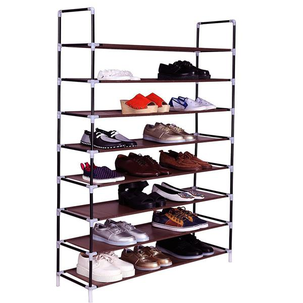 100cm Ultra Large Capacity 8 Layers Non-woven Fabrics & Steel Shoe Rack Dark Brown