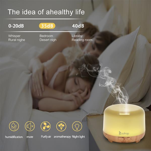 [US-W]ZOKOP 220V 450ML 2249YK Colorful RGB Light With White Remote Control Aromatherapy Oil Diffuser / Portable Ultrasonic Diffuser / Cold Mist Humidifier
