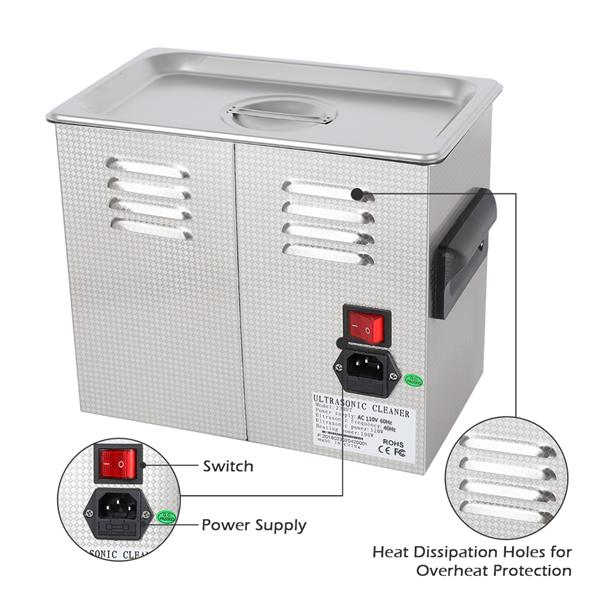 [US-W]ZOKOP 230HT 120W 3L 40kHz 110V 60Hz Stainless Steel Ultrasonic Cleaner US Plug