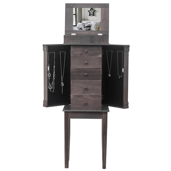 Standing Jewelry Armoire with Mirror, 5 Drawers & 8 Necklace Hooks, Jewelry Cabinet Chest with Top Storage Organizer , 2 Side Swing Doors(Grey)