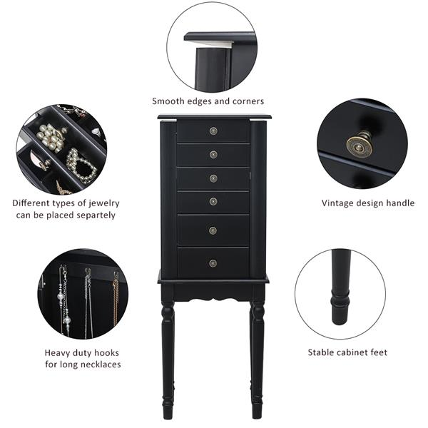Standing Jewelry Armoire with Mirror, 5 Drawers & 8 Necklace Hooks, Jewelry Cabinet Chest with Top Storage Organizer , 2 Side Swing Doors(Black)